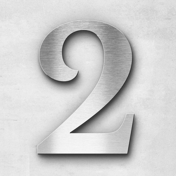 House Number 2 Stainless Steel Serif Series