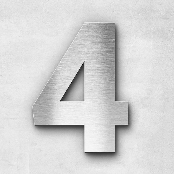 House Number 4 Stainless Steel Sans Series