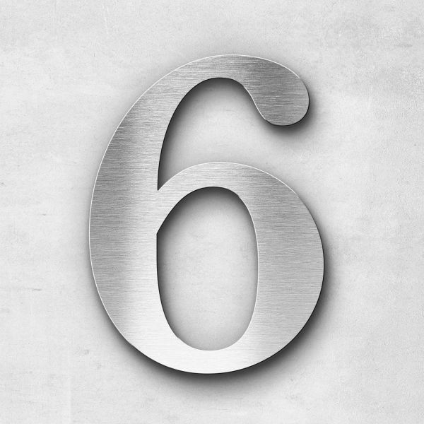 House Number 6 Stainless Steel Serif Series