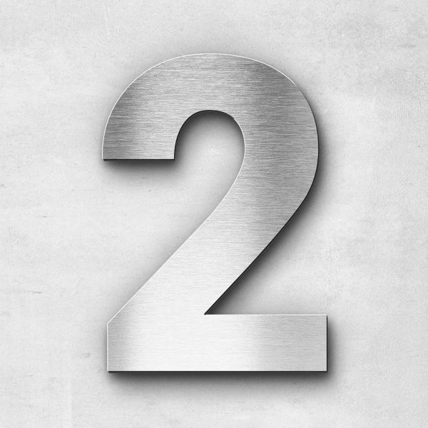 House Number 2 Stainless Steel Sans Series