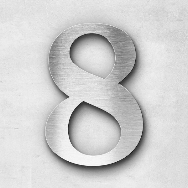 House Number 8 Stainless Steel Serif Series