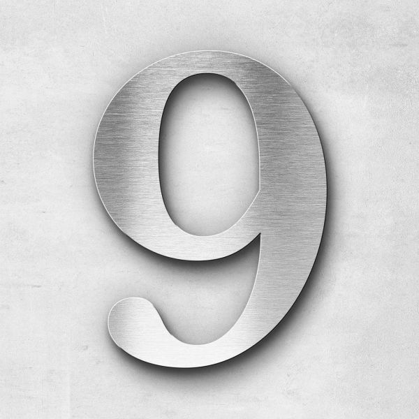 House Number 9 Stainless Steel Serif Series