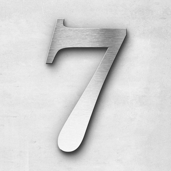 House Number 7 Stainless Steel Serif Series