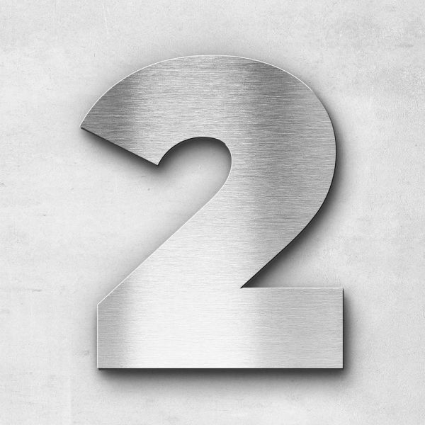 House Number 2 Stainless Steel Kontrast Series