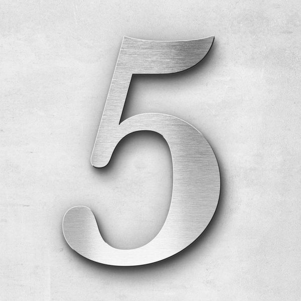 House Number 5 Stainless Steel Serif Series