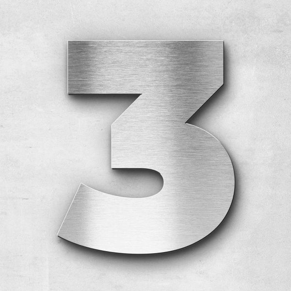 House Number 3 Stainless Steel Kontrast Series