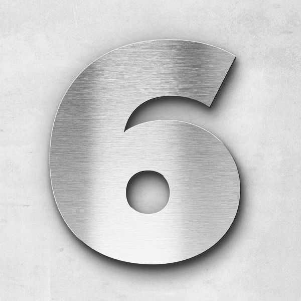 House Number 6 Stainless Steel Kontrast Series