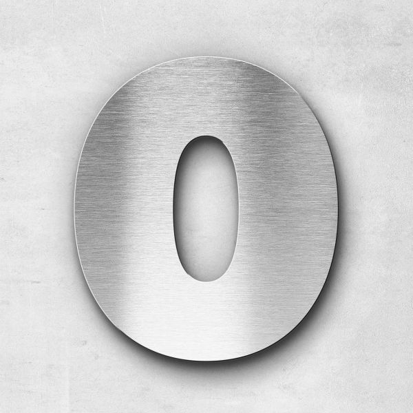 House Number 0 Stainless Steel Kontrast Series